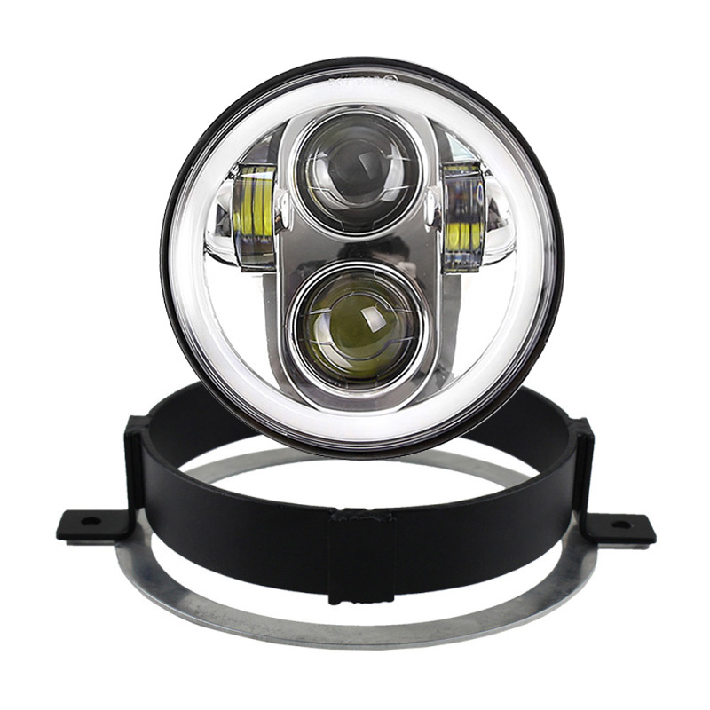FADUIES Chrome 5.75 Inch Motorcycle LED Headlight With Halo Ring For Honda VTX 5 3/4