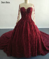 2017 Ball Gown Wine Red Lace Wedding Dresses With Scoop Neckline Sleeveless Beaded Court Train Floor