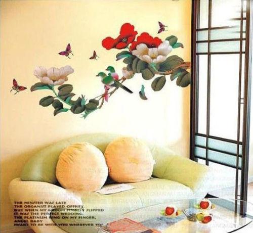 2015 New Fashion Cherry Blossom JAPANESE FLOER BIRDS Butterfly Art ...