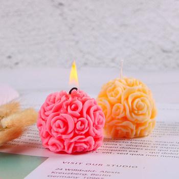 3D różana kula świeca silikonowa formy foremki do zdobień kwiatowych do gipsu aromaterapia DIY forma na świeczkę formy do mydła forma do ciasta do odlewania świec tanie i dobre opinie rose candle mold big size ball silicone rose ball mold