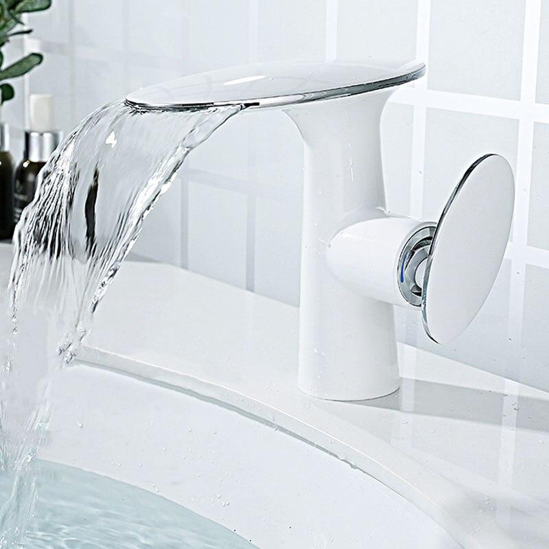 Водопад латунь Ванная раковина кран одно отверстие на бортике холодной и горячей смесителя белый/хром кран для раковины|Смесители для бассейна|   | АлиЭкспресс