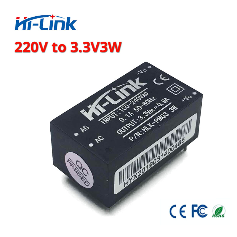 Free Shipping 2 Pcs/lot Hi-Link HLK-PM03 220v 3.3V 3W AC DC Mini Size Isolated Step Down Power Supply Module