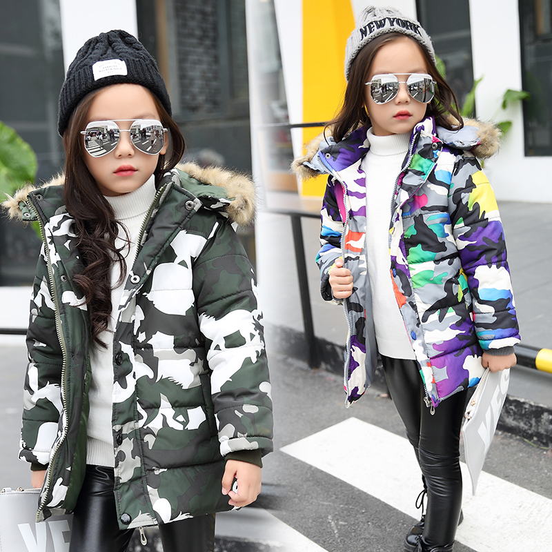 2017 Winter Jackets for kids warm coats Girls Outerwear Fur Collar camouflage Children's Down Jacket Thick Boy Winter Coat Down buenos ninos thick winter children jackets girls boys coats hooded raccoon fur collar kids outerwear duck down padded snowsuit