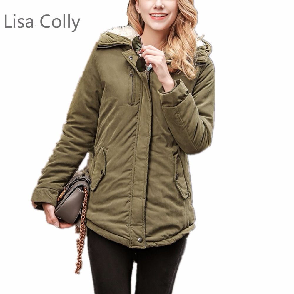 Lisa Colly Women Parka Coat Fashion Autumn Winter Warm Jackets Coat Women Long Parkas Hoodies Office Lady Cotton Coat