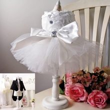 Pet Bride Groom Costume Clothes Bling Cat Dog Wedding dress cat Tuxedo for  chihuahua poodle Small