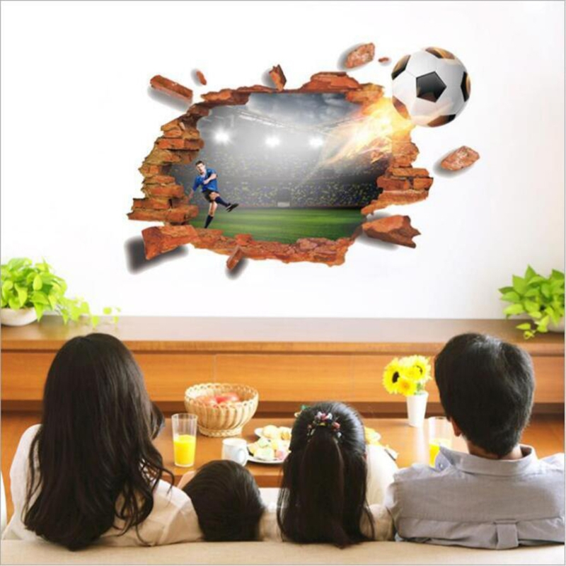 3D Soccer Ball Football Wall Sticker Decal Kids Bedroom Home Room Decor Sport ...