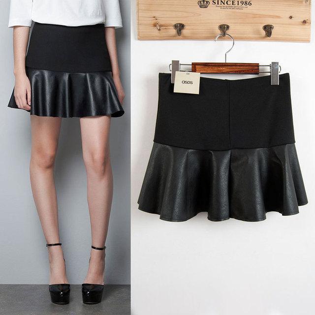 Otoño invierno nuevo de las mujeres de moda de costura que hace punto de cuero falda plisada, señoras de la alta cintura delgada negro ocasional mini faldas cortas