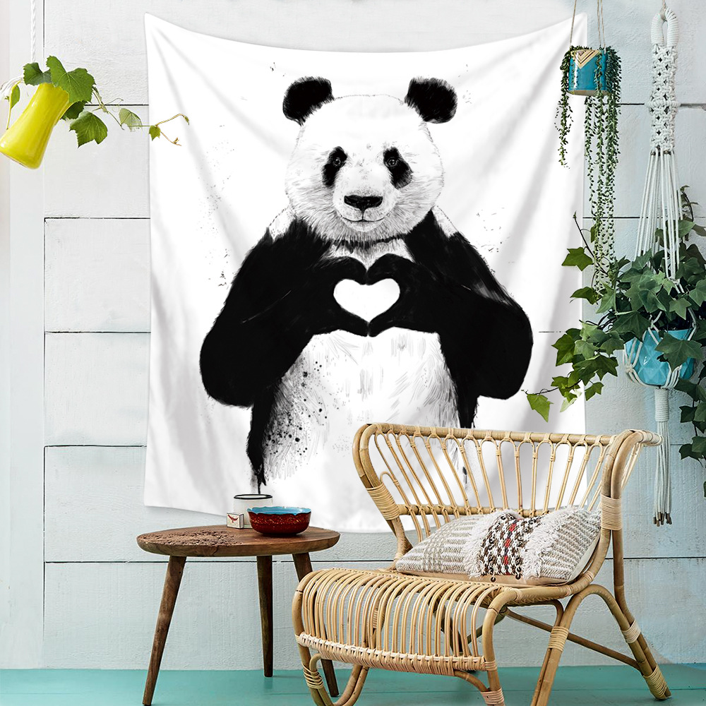 White Simple Animal Printed Wall Hanging Panda Cartoon Wall Art Home Docoration Sitting Mat Alphabet Tapestry Carpet Wall Towels