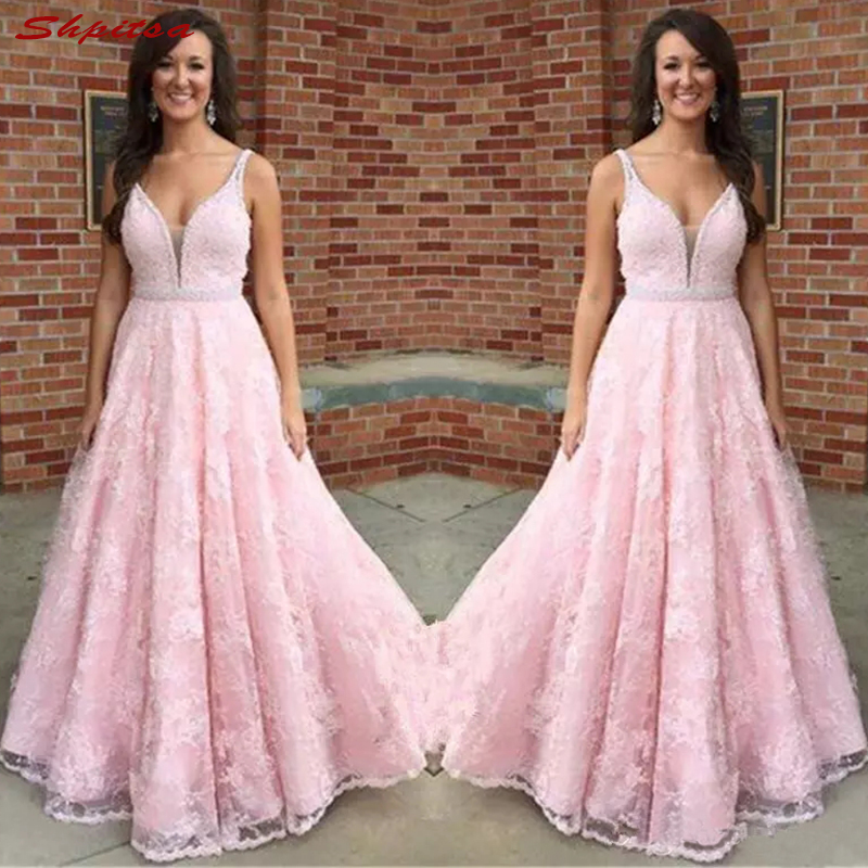 Pink Lace Mother Of The Bride Dresses For Wedding Plus Size Evening Prom Groom Dinner Dresses 2018