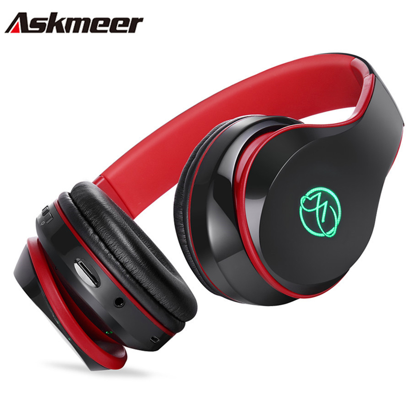 Askmeer Bluetooth Stereo Headphones Wireless Handsfree Glowing Earphone Headset with Microphone TF Card Play for iPhone Xiaomi
