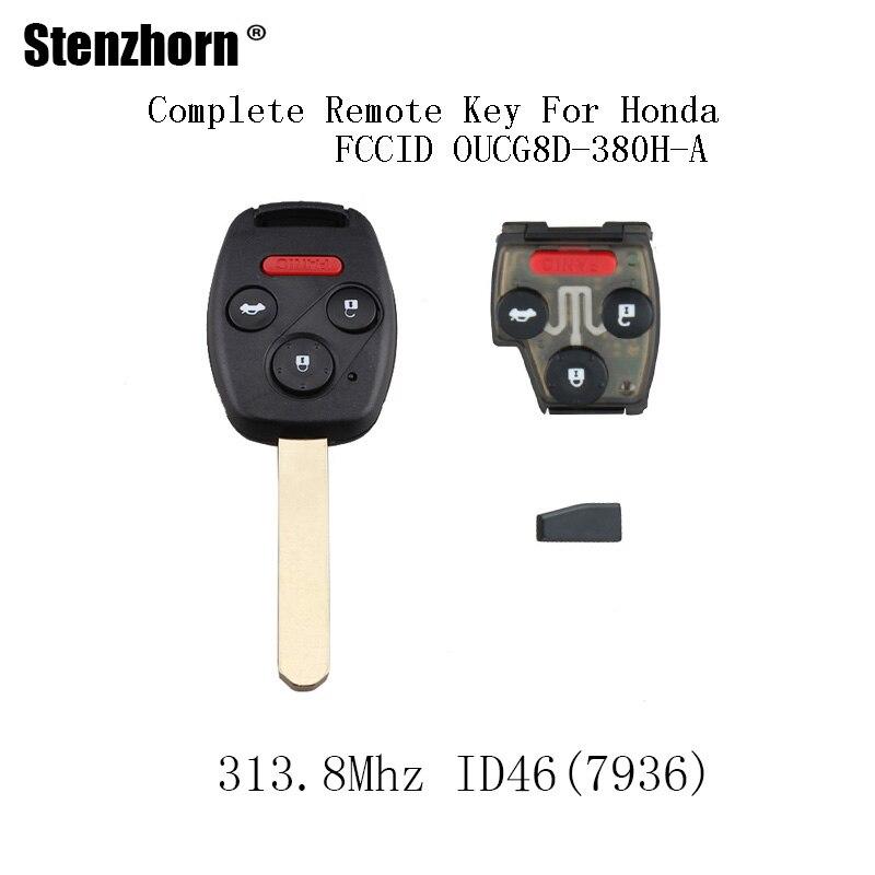 Stenzhorn 4 Пуговицы 313.8 мГц автомобилей Автозапуск брелок для Honda Accord 2003 2004 2005 2006 2007 ID46 чип полный удаленный ключевой