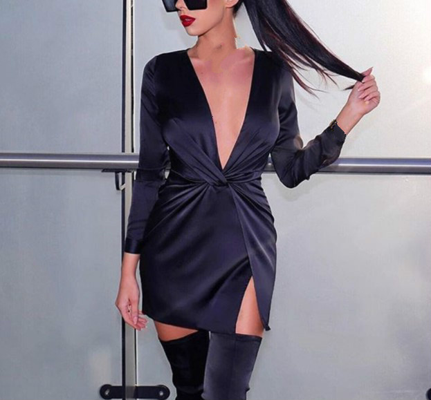 2019 Women 39 s Dress Deep V wrinkle Pleated Dress Sexy Long Sleeve Mini Dress in Dresses from Women 39 s Clothing