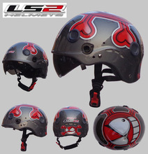 Free shipping LS2 OF101 motorcycle helmet half helmet wear and washable lining double mirror / light gray / red mask