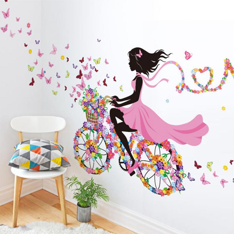 Personalities Girl Butterfly Flowers Art Decal Wallstickers Home Decor  Mural Wall Decor China  Mainland. Online Get Cheap Girls Wall Decor  Aliexpress com   Alibaba Group