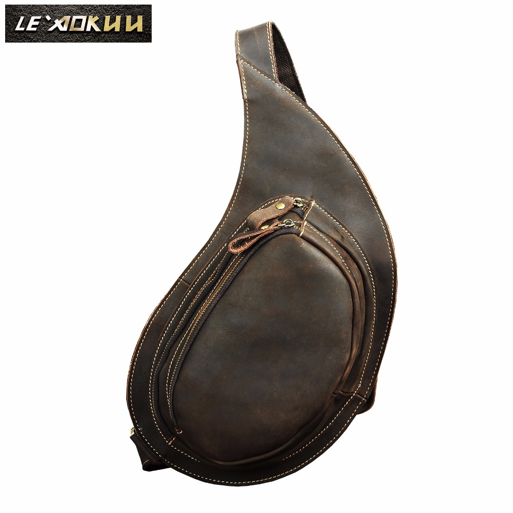 Quality Men Crazy Horse Leather Casual Triangle Chest Bag Sling Bag Design Travel One Shoulder Bag Crossbody Bag For Male 9918 new 2016 men s shoulder bag man bag portable diagonal cross section korean version of casual travel bag crazy horse