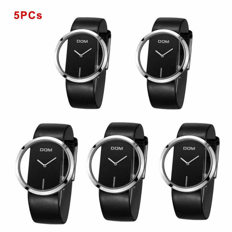 aee2cadc2f64 ... 5PCs Wholesale DOM Watches Women Casual Leather Quartz Watch Female  Clock Girl Dress Wrist Relogio Montre ...