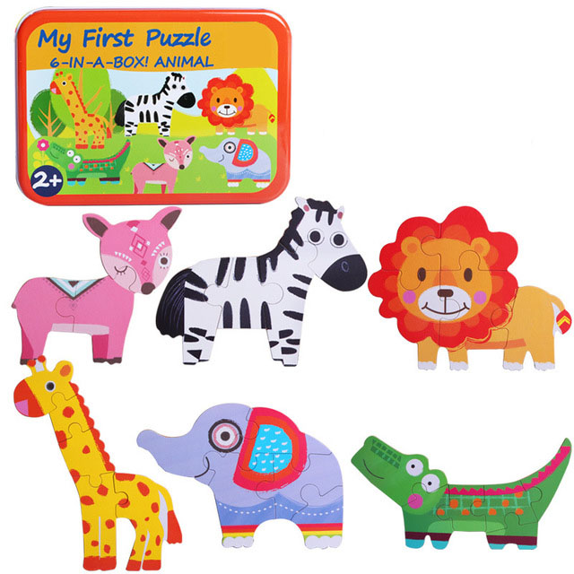 Educational Toys New Wooden Chunks Puzzle Animal Traffic Irregular Six-in-one Childrens Early Education