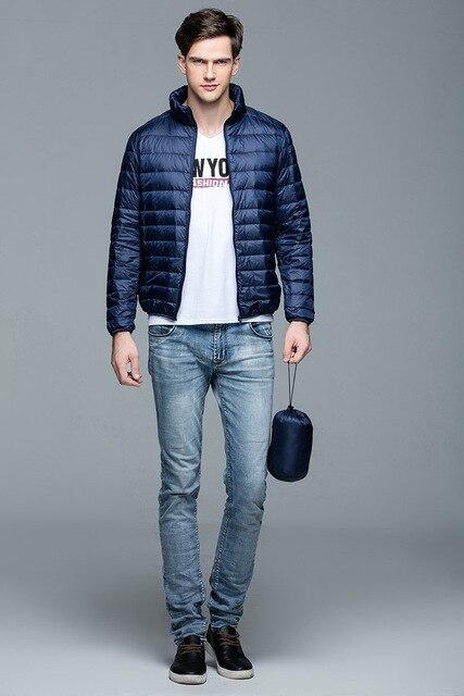 New Autumn Winter Man Duck Down Jacket Ultra Light Thin Plus Size Spring Jackets Men Stand Collar Outerwear Coat 6