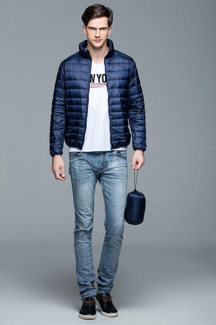 Image 3 - New Autumn Winter Man Duck Down Jacket Ultra Light Thin Plus Size  Spring Jackets Men Stand Collar Outerwear Coatcoat downlight  downduck down