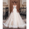Vestidos De Novia Custom Made Champagne Vintage Wedding Dress White/Ivory Applique Beading Lace Wedding Dress Bridal Gown