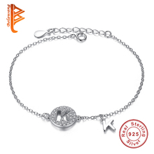 Original 925 Sterling Silver Bracelet Crystal Capital Letter K Charm Bracelet With Link Chain Bracelet for Women Fashion Jewelry
