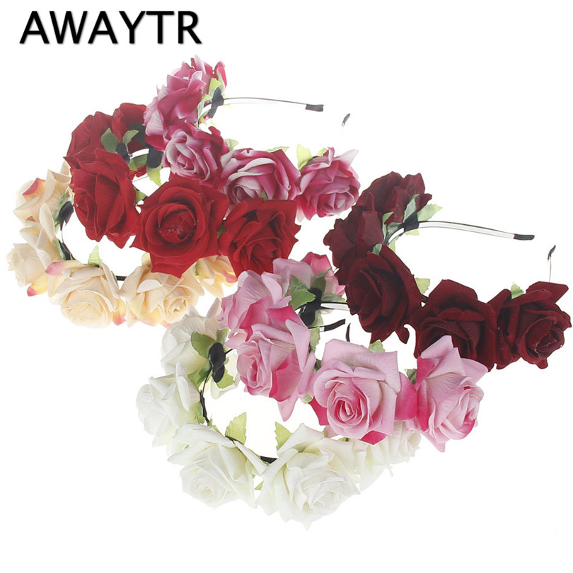 AWAYTR Beauty Bride Crown Headband Flower Hairband Summer Beach Girls Headwear Floral Hair Accessory Gift for Mothers Day
