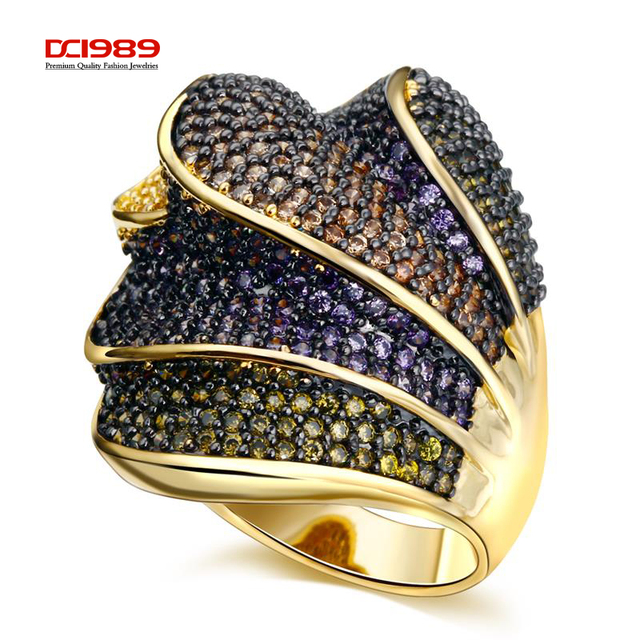 DC1989 Women Big Rings Beautiful 4 Layers Overlapping Design Deluxe 4 Colors Synthetic Cubic Zirconia Paved Black Gold Plated