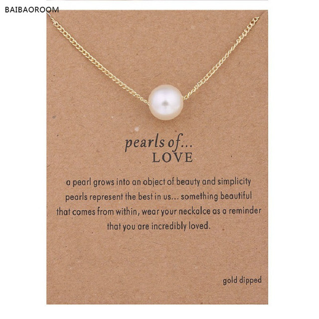 36b255eb7ab Hot sale imitation pearl of love gold-color Pendant Necklaces Clavicle  Chains necklace Fashion Chain Necklace Women Jewelry