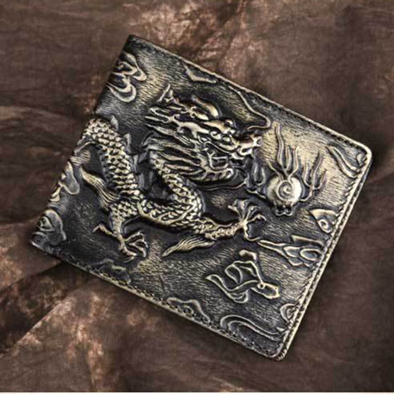 Men Genuine Leather Money Bags Purse Chinese Style Dragon Pattern Mulit-Cards Holder Cash Clip Oil Wax Cowhide Short Wallet