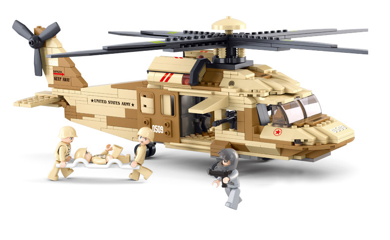 Sluban UH-6OL Military Series Black Hawk Helicopters Building Blocks Fighter Bricks Toys Gift Compatible With Lego decool 2114 building blocks military uh 60 black hawk plane airplane helicopter bricks blocks children toys compatible with lego