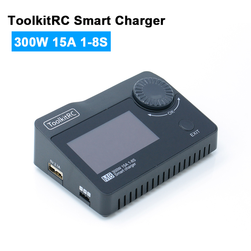 ToolkitRC M8 300W Smart charge 15A 1 8S Battery Balance Charger Discharger for Li po Battery