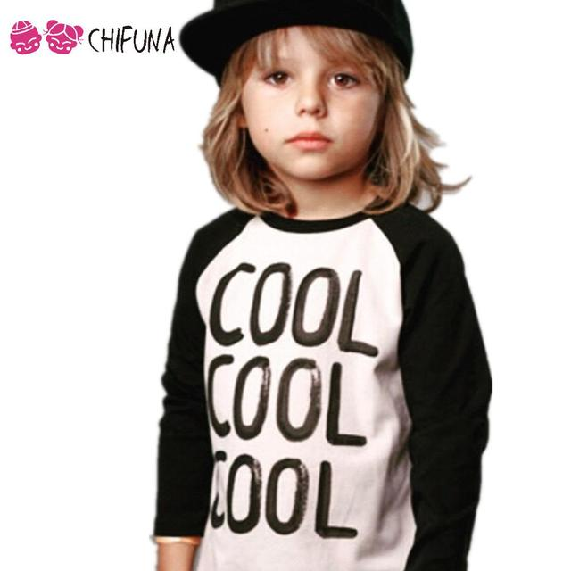 1-6Y 2016 Nueva Moda Camiseta de Los Niños Muchachos de la Manga Larga niñas de Algodón Unisex Carta Fashion Imprimir Niños Remata camisetas Ropa marcas