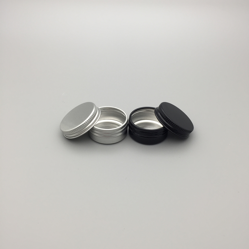 10g empty round aluminum lip balm tins for cosmetic packaging silver/black metal cosmetic jar container,cream jar with lid