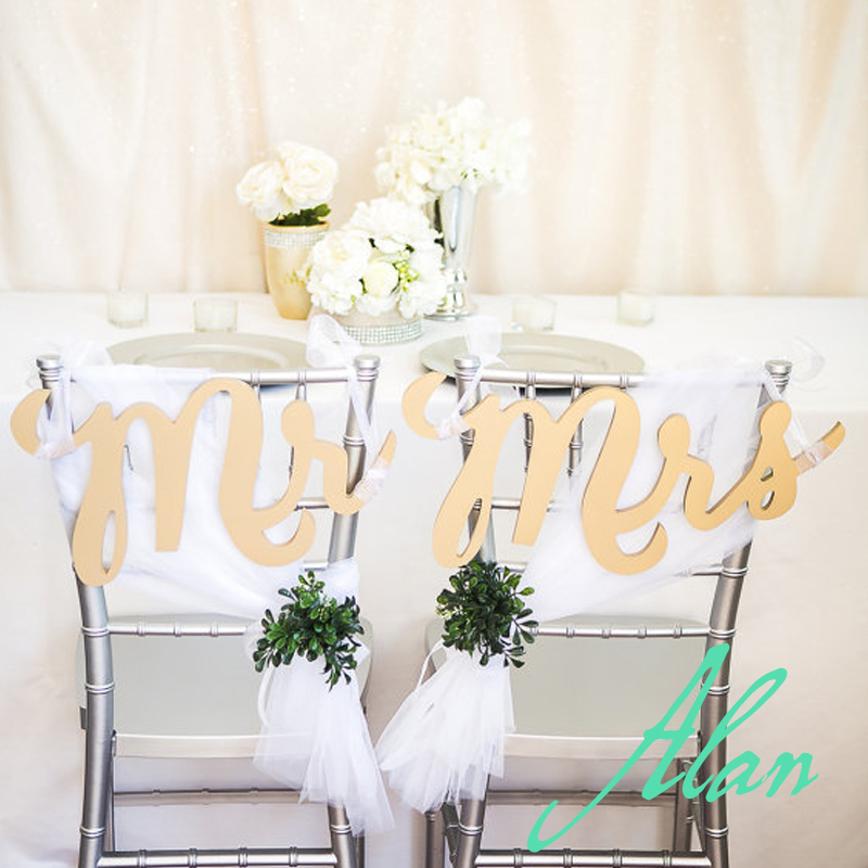 7 Tall Gold Chair Signs Mr Mrs For Wedding Chairs Bride And Groom Hanging Decor 3 Piece Se In Figurines Miniatures From