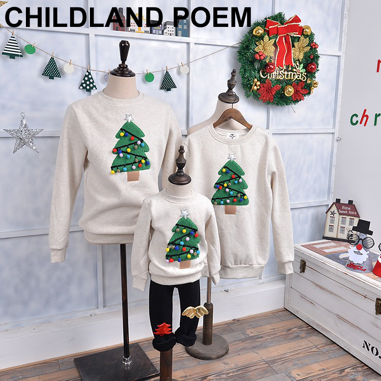 Family Christmas Clothes Fleece X-mas Family Matching Clothes Mother Daughter Father Son T-shirt Family Look Mommy and Me Outfit babar and father christmas