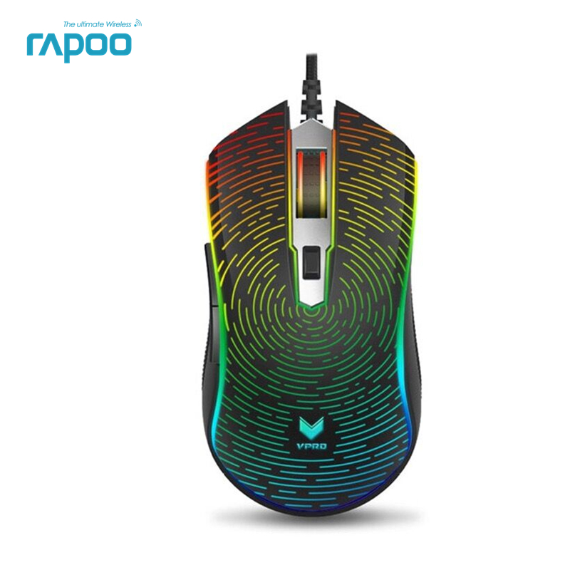Nouveau Rapoo V25S 7000 dpi 7 Programmable Boutons Optique Capteur P3320 RGB Rétro-Éclairage Optique Gaming Mouse pour Gamer Professionnel
