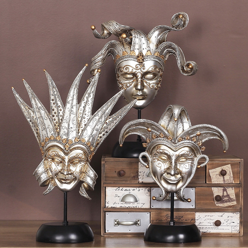 Retro Princess Iron Fan Mask Ornaments Living Room TV Cabinet Bar Home  Furnishing Soft Decoration Decoration Study