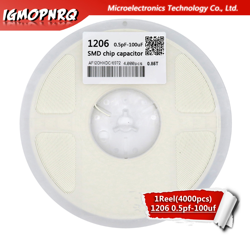 1reel 4000pcs 1206 50V <font><b>SMD</b></font> Thick Film IGMOPNRQ Chip Multilayer Ceramic Capacitor 0.5pF-22uF 10NF <font><b>100NF</b></font> 1UF 2.2UF 4.7UF 10UF image