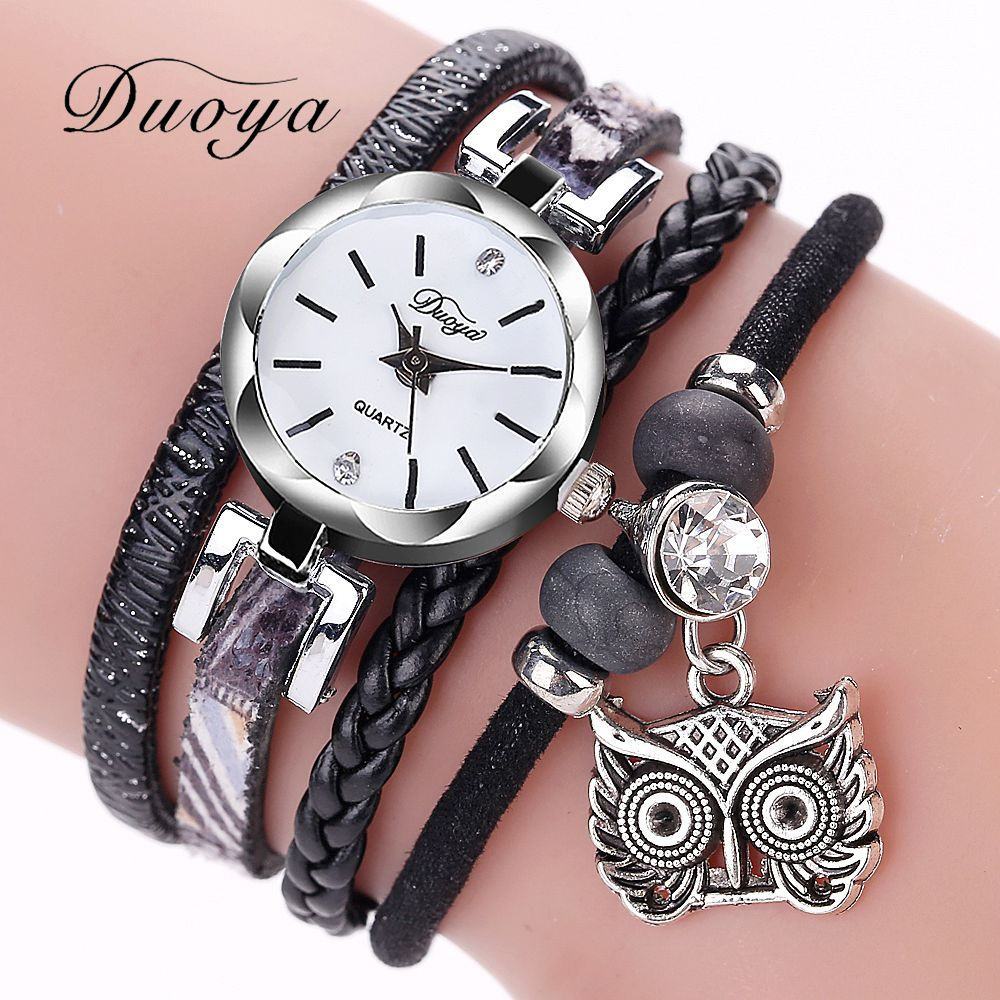 Duoya Brand Women Fashion Bracelet Watch Leather Strap Wristwatch Diamond Owl Silver Ladies Dress Luxury Quartz Wrist Watches