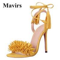 MAVIRS Brand Women Sandals 2018 Summer Fringe Ankle Strap 12CM Stilettos Extreme High Heels Black Blue