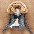 2016 Mais Novo Outono Inverno Denim Jaqueta Casaco Versão Coreana Nagymaros Gola do Casaco de Lã Manga Jaqueta Jeans Curto Feminino Casacos