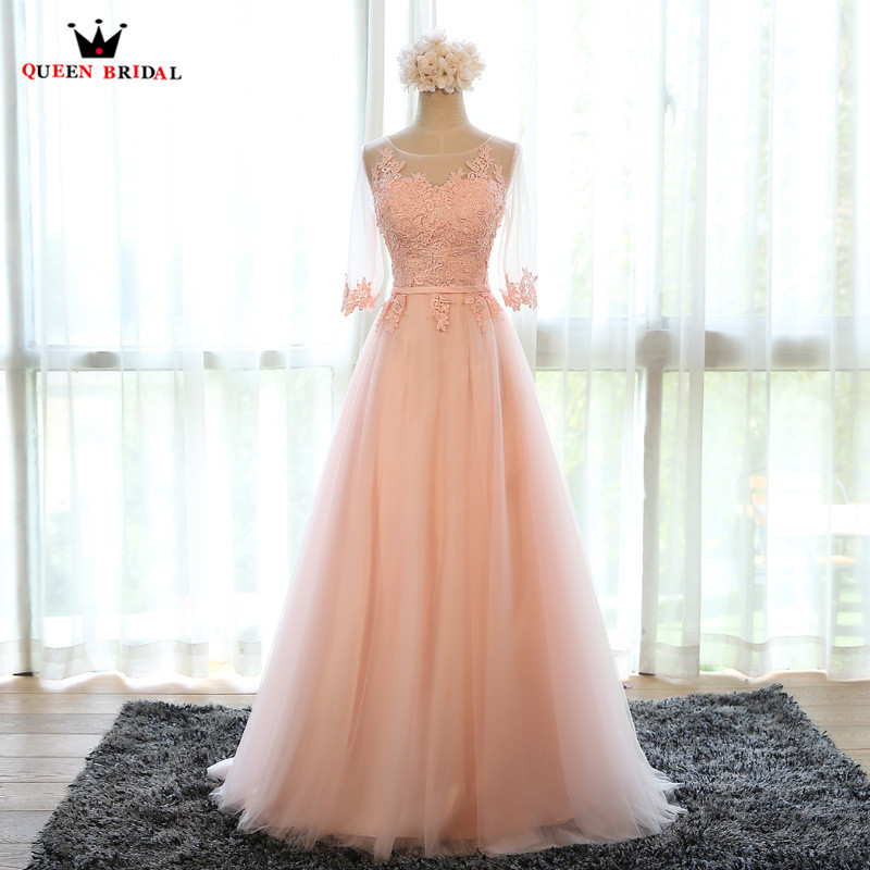 Evening Dresses A-line Half Sleeve Tulle Lace Embroidery A-line Long Prom Formal Dress Many Colors Purple Blue Pink White DR06