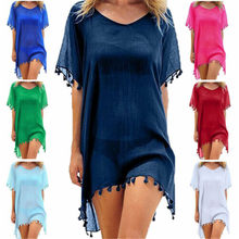 Women Beach Cover Up Lace Hollow Crochet Swimsuit Beach Dress Women 2019 Summer Ladies Cover-Ups Bathing Suit Beach Wear Tunic(China)