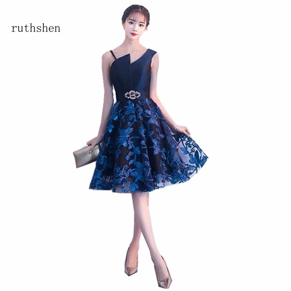 ruthshen Short   Cocktail   Party   Dresses   Sexy Open Back Knee Length One Shoulder Fashion Formal Prom   Dress   Vestido De Festa Curto
