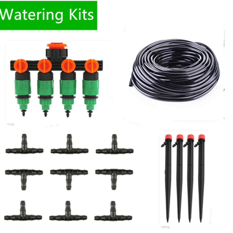 50m Automatic Micro Drip Irrigation System Garden Irrigation Spray Self Watering Kits Timer With Adjustable Sprinkler