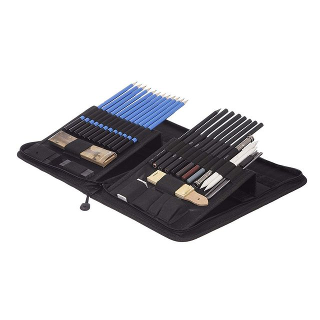 40 Piece Drawing Pencils and Sketch Set in Pop Up Zipper Case   Includes Graphite, Pastel and Charcoal Pencils and Accessories