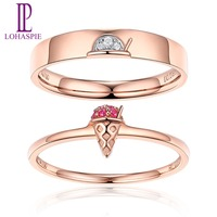 LP 18K Rose Gold Diamond Ice Cream Couple Rings for Men Women Natural Ruby Engagement Ring for AnniversarValentine's Gift New