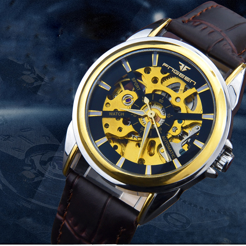 Fashion top brand luxury men watch skeleton Automatic Mechanical Men casual wrist watch leather strap relojes hombre 2017 Relogi