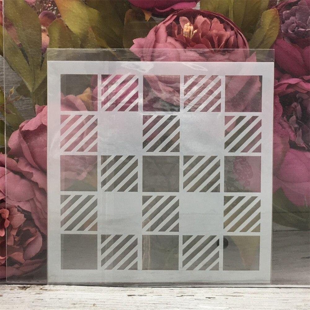 1Pcs 15*15cm Chessboard Grid DIY Layering Stencils Painting Scrapbook Coloring Embossing Album Decorative Card Template