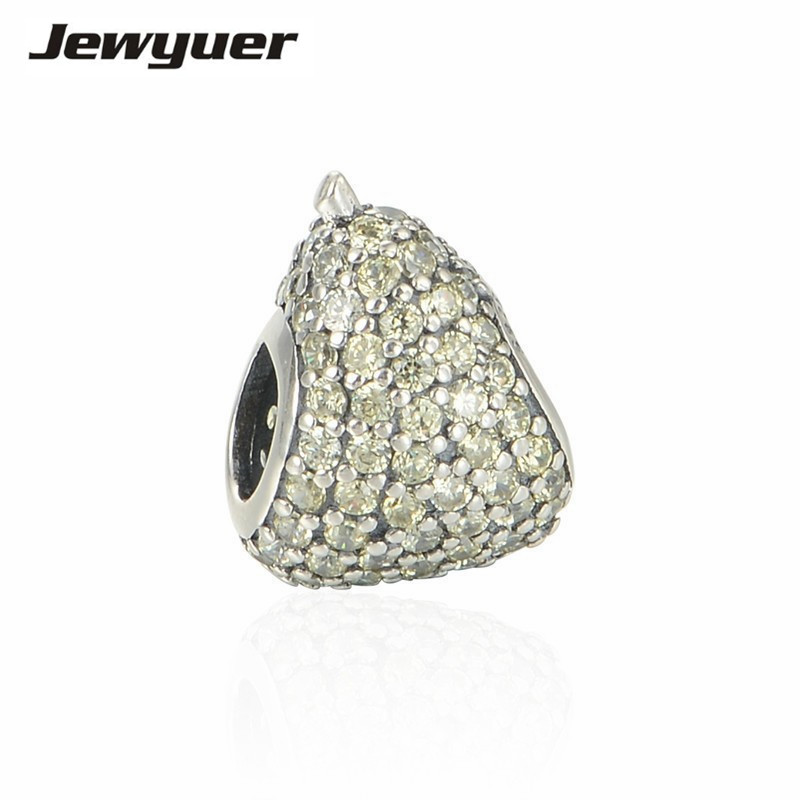 Summer collection light green pear charms 925 Sterling Silver animals charm Fit bead Bracelet DIY for women fine jewelry BE258